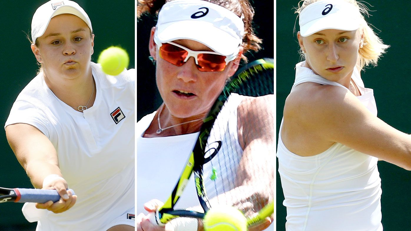 Australians Ashleigh Barty (left), Samantha Stosur (centre), and Daria Gavrilova compete in the first round of Wimbledon 2018. (AAP)