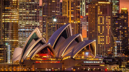 """""""For the duration of the Sydney lockdown, this message will glow each evening from the Shangri-La hotel's exterior, as a heartfelt message of solidarity with our city, frontline workers and Sydneysiders,"""" a spokesman for the CBD hotel, said."""