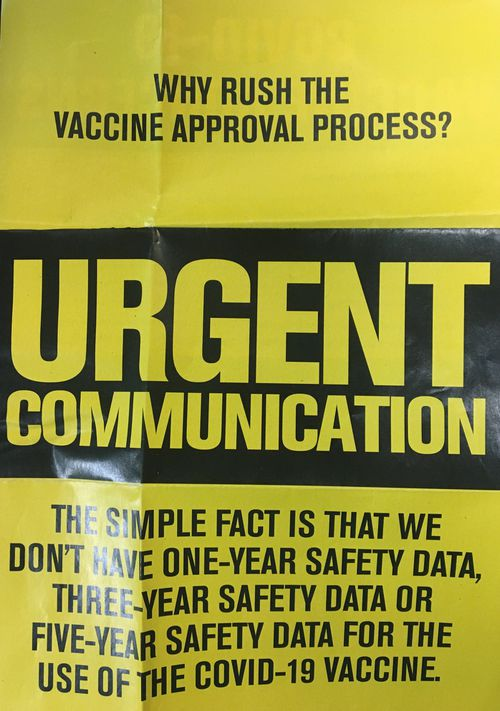 A pamphlet distributed by Clive Palmer questioning the vaccine approval process.