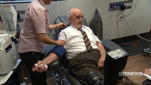 Blood donor James Harrison, 81, holds a world record for the number of times he's donated since first beginning in 1957. Picture: 9NEWS.