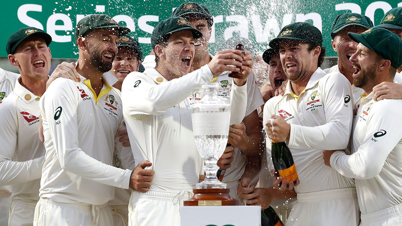Australia celebrates retaining the Ashes in 2019.