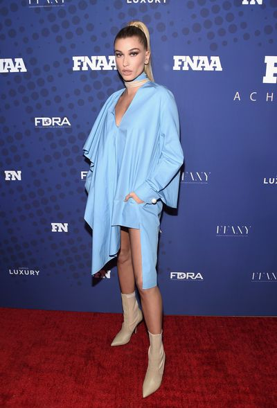 "<p>It was a case of no pants, no problem, for model <a href=""https://style.nine.com.au/hailey-baldwin"" target=""_blank"">Hailey Baldwin</a> who arrived at the FN Achievement Awards in New York wearing a revealing mini Fendi dress.&nbsp;</p> <p>FN stands for <em>Footwear News</em> so Baldwin, who turned 21 last week, was bang on brief, drawing attention to her beige booties.</p> <p>Offering a more urban take on the trouser tossing trend was Justine Skye, wearing the jacket from a sky blue Public School pantsuit.</p> <p>""I think it&rsquo;s cool that people think my style is cool enough to [win an] award,"" Baldwin told <em><a href=""http://footwearnews.com/2017/influencers/awards/hailey-baldwin-fnaa-2017-footwear-news-achievement-awards-style-influencer-of-the-year-461287/"" target=""_blank"" draggable=""false"">Footwear News</a></em>. ""I&rsquo;m grateful. Street style is such a big part of my job and life, so to be recognised for that is a great opportunity for me.""</p> <p>Don&rsquo;t expect to see Baldwin shirtless away from the red carpet with actor Alec&rsquo;s niece saying that her go-to outfit is: ""Leggings, sports bra and a hoodie.""<br /> <br /> </p>"