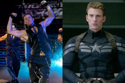Channing Tatum almost landed the coveted Marvel role in <i>Captain America: Winter Soldier</i>, but missed out and did <i>Magic Mike</i> instead. <br/><br/>Left: Channing in <i>Magic Mike</i> / Warner Bros. Right: Chris Evans as Captain America / Marvel.