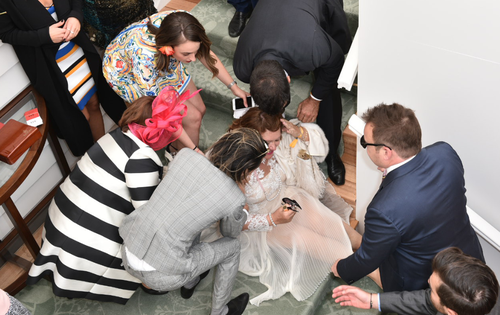Gina Rinehart takes a tumble at Melbourne Cup marquee