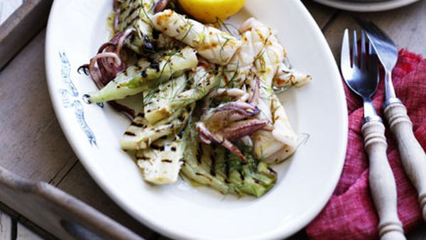 Grilled calamari with fennel and lemon salt