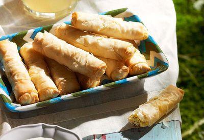 Crisp fetta, lemon & parsley filo rolls with yoghurt & dill dip