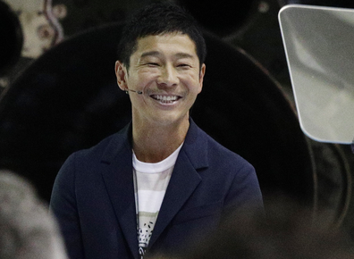 Japanese billionaire Yusaku Maezawa speaks after SpaceX founder and chief executive Elon Musk announced him as the person who would be the first private passenger on a trip around the moon, Monday, Sept. 17, 2018