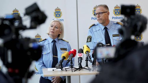 Police press conference following the death of Swedish artist Lars Vilks