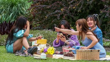 A group of friends enjoying a picnic at the Royal Botanic Gardens on October 19, 2020 in Melbourne.