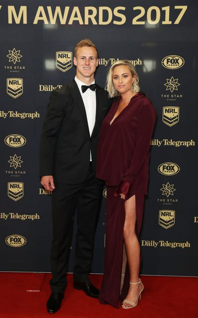 Daly Cheery-Evans of the Manly Warringah Sea Eagles with partner Vessa Rokliff
