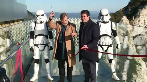 Mark Hamill ditched his lightstaber for a pair of scissors to open Gibraltar Skywalk (SUPPLIED)
