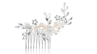 """<a href=""""http://romanandfrench.com/collections/collection-bridal-wedding-hair-accessories/products/alsace-bridal-hair-comb"""" target=""""_blank"""">Alsace Bridal Hair Comb, $59, Roman and French</a>"""