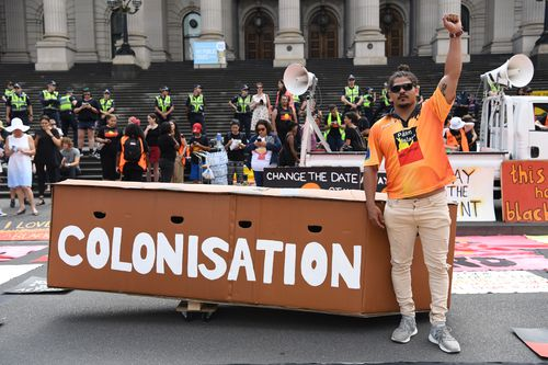 """Invasion Day"" protesters were voicing their opposition to British colonisation in Australia and a change to the date of Australia Day (AAP)."
