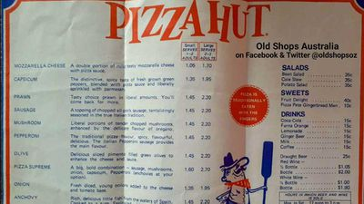 Pizza hut menu from 1970's resurfaces
