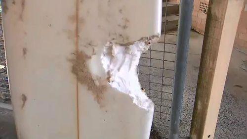 The damage to Sam Edwards' board.