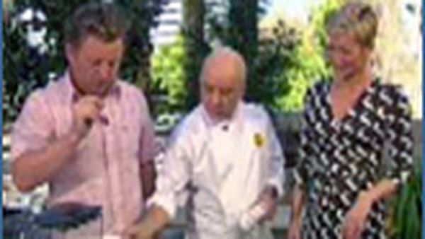 Rafael A Nazario cooking with Luke Mangan and Jessica Rowe