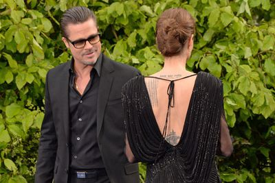 All must be well in Brangelina-land now, because Brad is totally checking out his lady.