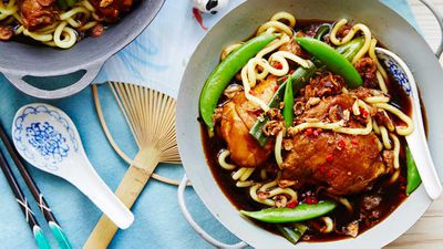 Drunken chicken with egg noodles