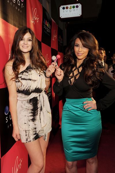 Kim Kardashian and Kylie Jenner at the grand opening of Sugar Factory American Brasserie at Paris Las Vegas on March 4, 2011