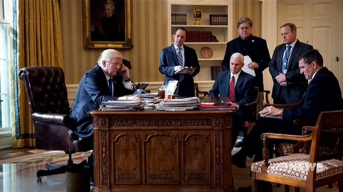 This photograph shows Mr Trump's high-level White House Staff when he became president.