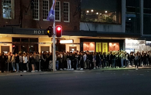 Pub claims crowded queue in online photo was 'immediately' dispersed