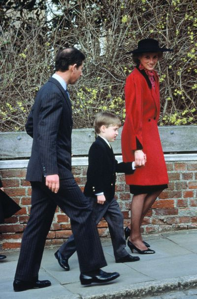 Prince Charles, Prince William and Princess Diana attend the Royal Easter Service at St George's Chapel in Windsor, 1989.