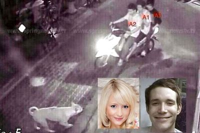 Security footage shows the two men accused of the killings of British tourists Hannah Witheridge and David Miller riding a motorbike with another man. (Supplied)