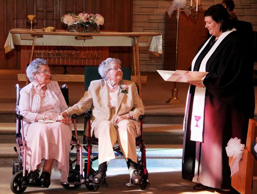 Elderly women marry after 72 years together