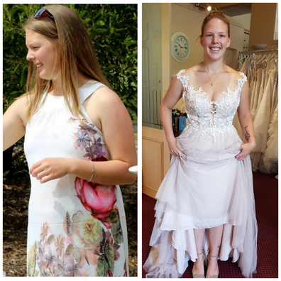Kate before her successful weight loss effort and on her wedding day.