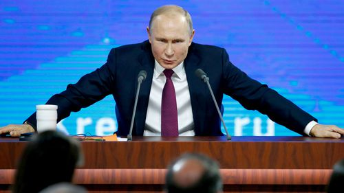 Russian President Vladimir speaks during his annual news conference in Moscow, Russia.