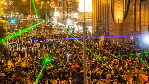 Lasers were used by protesters in Hong Kong.