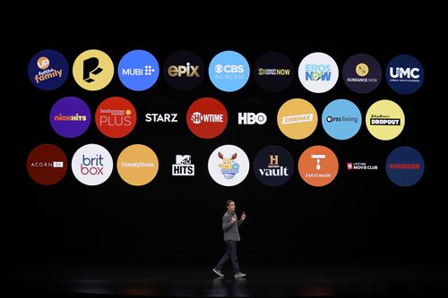 Peter Stern speaks about the company's new streaming service (AP Photo/Tony Avelar)