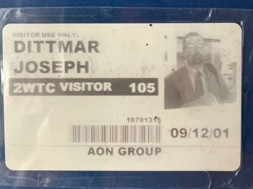 Joe Dittmar's pass to enter the World Trade Center on September 11, a day when nearly 3000 people were killed in a devastating terror attack.