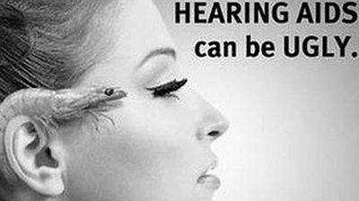 """This outdoor advertisement for Victorian Hearing featured a woman was deemed """"offensive, discriminatory and distressing to people who have no choice but to use them"""" and the complaints were upheld by the board."""