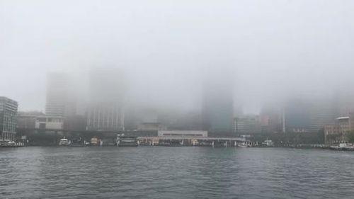 Heavy fog covers Sydney's Circular Quay ferry terminal.