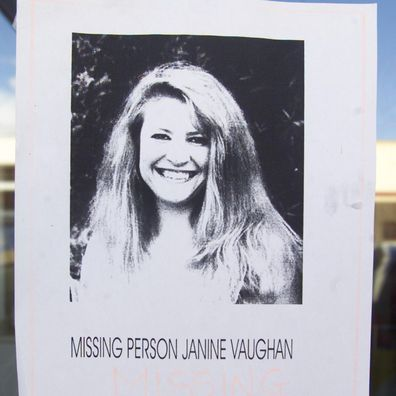 A missing person sign in window of a sandwich shop in Bathurst for Janine Vaughan.