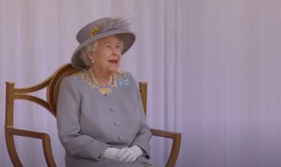 The Queen broke into a wide smile as she watched the incredible display.