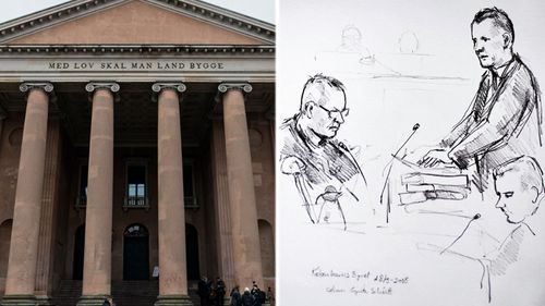 An artist's drawing by shows accused Peter Madsen (left) and the prosecutor Jakob Buch-Jepsen (standing) during the trial at Copenhagen City Court (left). (AP images).