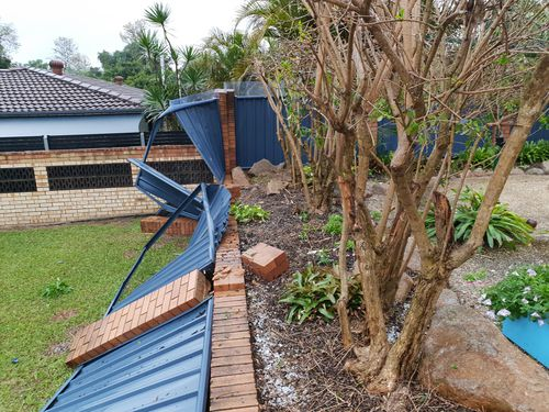 Amy Stevenson's fence was destroyed in the storm.