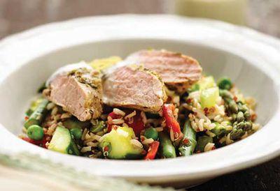 "Recipe: <a href=""/recipes/ipork/9043543/pork-fillet-and-quinoa-salad"" target=""_top"">Pork fillet and quinoa salad</a>"