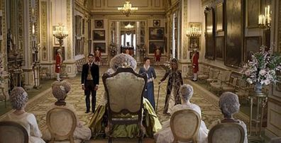 This scene, filmed at Lancaster House, was hurried due to the Queen requiring use of the residence.
