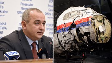 Deputy Prosecutor General of Ukraine – Chief Military Prosecutor Anatolii Matios (left), and a reconstruction of the downed plane. (AAP)