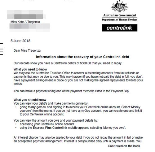 A copy of the debt letter Kate Tregenza found on her MyGov account.