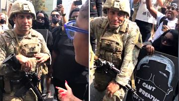 NBC reporter Gadi Schwartz filmed  US soldiers taking a knee with protesters in Los Angeles.