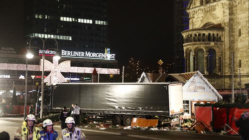The 18-wheeler rig is believed to have been carrying a cargo of heavy steel, making it an even deadlier battering ram. Source: AFP