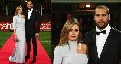 Former Miss Universe Jesinta Campbell wowed crowds at the 2014 Brownlow Medal Awards arm-in-arm with her partner Lance 'Buddy' Franklin. (Getty)