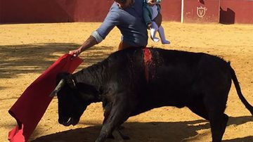 """Francisco Rivera Ordóñez posted this image to Instagram with the caption: """" Carmen's debut, it is the 5th generation of bullfighting in our family. My grandfather bullfighting with my father. My father bullfighting with me, and I have done it with my daughter Cayetana and now with Carmen."""""""