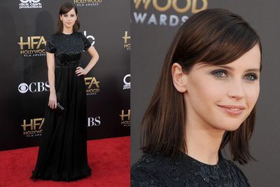 British <i>Theory of Everything</i> actress Felicity Jones brought some dark sparkle..