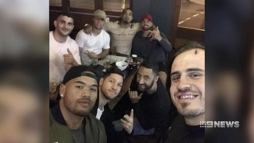 Josh Reynolds and Luke Brooks were with friends when sniffer dogs came into the club.