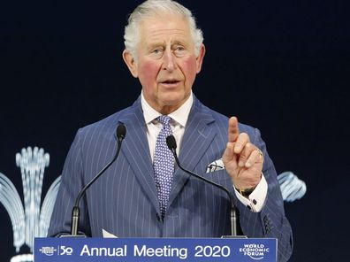 Britain's Prince Charles addresses the World Economic Forum in Davos, Switzerland, Wednesday, Jan. 22, 2020. The 50th annual meeting of the forum is taking place in Davos from Jan. 21 until Jan. 24, 2020